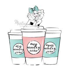 Monday coffee girl fashion illustration by Martina