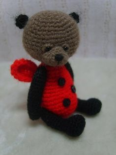 Miniature Crochet THREAD ARTist LadyBug Teddy Bear Pattern PDF