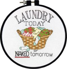 Laundry; counted cross stitch