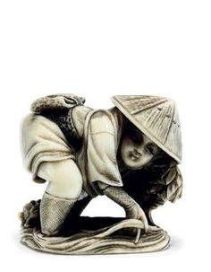 An Ivory Netsuke   Signed Kogyoku, Meiji Peirod (late 19th century)   Of a farmer   3cm. high