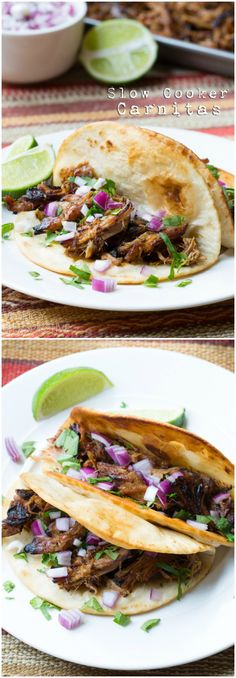Carnitas, the Mexican meat of the gods! This Best Slow Cooker Carnitas recipe is loaded with flavor and perfect for making tacos, salads and wraps. Pork Recipes, Mexican Food Recipes, Crockpot Recipes, Cooking Recipes, Healthy Recipes, Family Recipes, Easy Recipes, Cheap Clean Eating, Clean Eating Snacks
