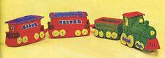 Crocheted Locomotive Vintage Gift Crochet Stuffed Toy Pattern Amigurumi Toy Train |  Instant Digital PDF Download