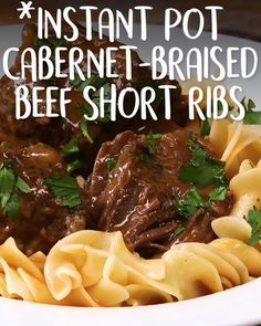 Instant Pot Cabernet-Braised Beef Short Ribs We won't tell if you save a lil Cabernet in a glass just for you: Instant Pot Cabernet-Braised Beef Short Ribs pot recipes beef Braised Short Ribs, Beef Short Ribs, Braised Beef, Roast Beef, Beef Tenderloin, Beef Steak, Instant Pot Short Ribs Recipe, Instant Pot Dinner Recipes, Rib Recipes