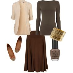 """Modest Fashion"" Lovin' the brown!, and the three-quarter-sleeve tunic!"