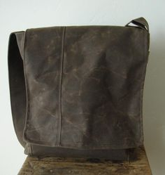 Bucket Messenger  - Waxed Canvas in Chocolate Brown