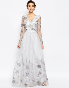 Image 4 ofChi Chi London Open Back Maxi Dress With Floral Embroidery