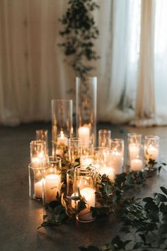 This Stylish NYE Wedding at The Metropolist Will Convince You to Ring in the New Year by Saying I Do Simple white candles in glass vases added a warm touch to this indoor ceremony Wedding Ceremony Ideas, Wedding Altars, Wedding Centerpieces, Wedding Table, Indoor Wedding Decorations, Wedding Ideas Candles, Church Decorations, Wedding Favors, Wedding Photos