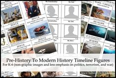 Free timeline card figures - prehistory to modern history. Note: secular