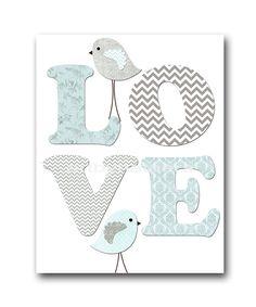 Aves guardería Baby Boy vivero arte vivero pared arte bebé vivero niños habitación decoración niños niño lámina 8 x 10 aves amor vivero azul gris