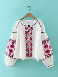 Cotton Floral Embroidered Tassel Blouse & Jacket - ChicBohoStyle – Chic Boho Style Kimono Cardigan, Cardigan Sweaters, Infinity Dress Styles, Blouses For Women, Jackets For Women, Embroidered Jacket, Boutique, Cotton Blouses, Cotton Linen