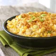 Cheesy Skillet Scalloped Corn. Could use fresh corn, fresh peppers ,even cheddar cheese.