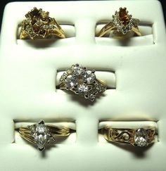 18K Goldplated rings vintage lot of 5 , Size 7, USA made, CZs, marked,(Lot93)NR #AmericanRing #Variety
