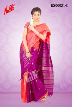 Pink Kanchipuram Silk Saree with Zari butta on body and Piping border. Includes Unstitched Blouse.