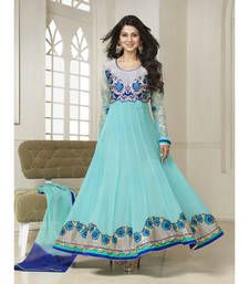 Buy Sky Blue embroidered georgette semi stitched salwar with dupatta Online