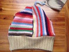 Upcycled lambswool rainbow striped baby/toddler hat 6m-18m on Etsy, $10.00