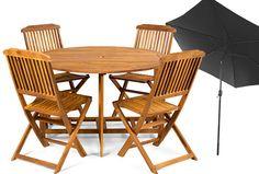 350€ Set de mesa + 4 sillas + sombrilla. #mesa #silla #sombrilla #conjunto #madera #jardín #terraza Deskontalia Productos - Descuentos del 70%