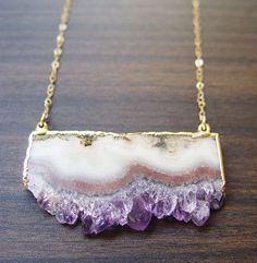 Lilac Stalactite Necklace 14k Gold OOAK by friedasophie https://www.etsy.com/shop/friedasophie