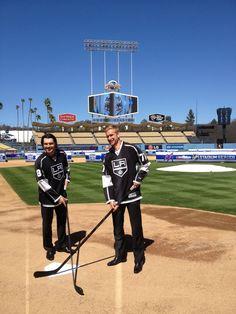 Los Angeles Kings #8 Drew Doughty and #77 Jeff Carter at the LA Kings/Anaheim Ducks Stadium Series presser September 26, 2013