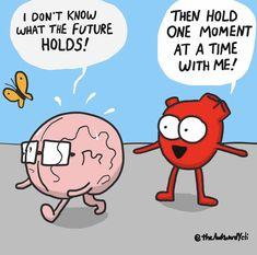 Heart and Brain Akward Yeti, The Awkward Yeti, Heart And Brain Comic, Funny Relatable Memes, Funny Quotes, Cute Cartoon Drawings, Head And Heart, Aesthetic Words, Science Humor
