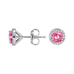 Pink Sapphire Halo Earrings