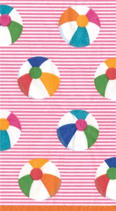Caspari Bounce pink Beach Ball Theme Printed 3-Ply Paper Guest Towels Wholesale 12531G