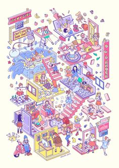 entertainment image track knock girl liar oh my ep wm Oh My Girl LIAR LIAR EP, track Art And Illustration, Illustrations And Posters, Graphic Design Illustration, L Wallpaper, Whatsapp Wallpaper, Isometric Art, Isometric Design, Graphic Design Posters, Graphic Design Inspiration