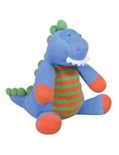 Eco-Friendly Zubels 100/% Hand-Knit Tanner the T-Rex Plush Doll Toy All-Natural Fibers 12-Inch