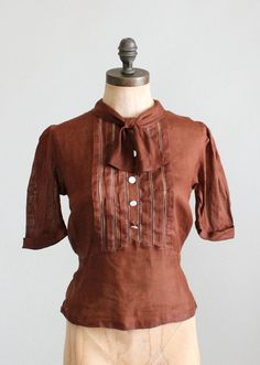 Vintage 1930s Brown Linen Sportswear Shirt | Raleigh Vintage