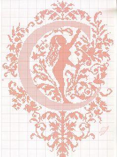 "cross stitch alphabet in 2 colors- very ornate monogram 26 single letters -- ""C'"" #3"
