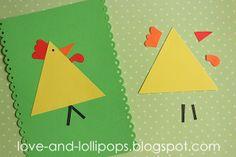 Love and Lollipops: Easy Chicken Craft K Crafts, Farm Crafts, Shape Crafts, Farm Animals Preschool, Preschool Activities, Preschool Shapes, Animal Crafts For Kids, Toddler Crafts, Toddler Preschool