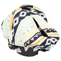 Gold & Mint Aztec canopy car seat cover from Caden Lane