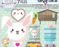 Rabbit Clipart, Rabbit Graphic, COMMERCIAL USE, Planner Accessories, Animal Clipart, Spring Clipart, Bunny Clipart, Pet