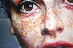 """Close Up Freckles Again,"" original portrait painting by artist Thomas Saliot (France) available at Saatchi Art #SaatchiArt"