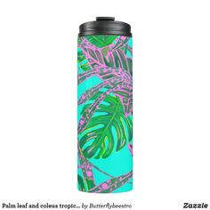 Palm leaf and coleus tropical ice thermal tumbler Pink Turquoise, Coral Pink, Turquoise Background, Tropical Design, Fire And Ice, Custom Tumblers, Green Colors, Palm, Leaves