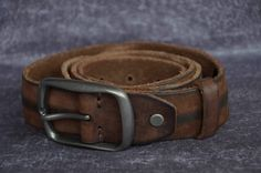 Unique Mens Leather Belt Strap Cowhide Belt Distressed Brown by SherryJewelry, $28.70