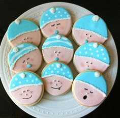 decorated baby shower cookies cute baby faces in by peapodsnyc