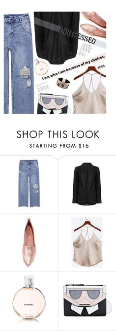 """""""True Blue: Distressed Denim"""" by meyli-meyli ❤ liked on Polyvore featuring Jeffrey Campbell, Karl Lagerfeld, distresseddenim, yoins, yoinscollection and loveyoins"""