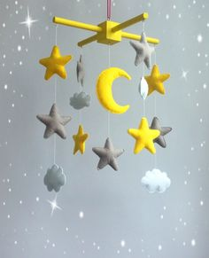 Items similar to Star baby mobile Grey yellow nursery Moon mobile Cloud crib mobile Space mobile Baby boy mobile Baby girl mobile Felt mobile Nursery mobile on Etsy Grey Yellow Nursery, Baby Boys, Baby Mädchen Mobile, Hanging Mobile, Baby Room Decor, New Baby Gifts, Girl Nursery, Baby Shop, Toddler Girls