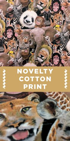 Animal Selfies Novelty Cotton Print