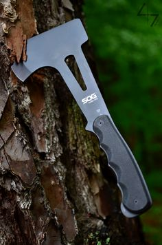 "SOG Knives Hand Axe - Black: Total Length. 11.1"" Blade Length: 2.4"" Weight: 18.6oz. Steel Type: 420 Stainless. Photo Credit: 47images"