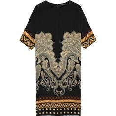 Etro Printed stretch-silk dress (1,570 CAD) ❤ liked on Polyvore featuring dresses, black, etro dresses, boho print dress, black bohemian dress, boho chic dresses and black dress