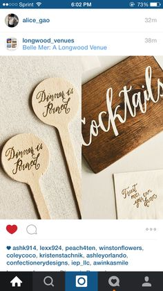 Cocktail stirrers and calligraphy signage