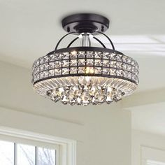 Light up your home with this Jolie Antique Black Drum Shade Crystal Semi Flush Mount Chandelier. This 4 -light chandelier is made of crystal and iron and features a black finish that will enhance the Art Deco Chandelier, Light, Chandelier Style, Drum Shade, Light Fixtures, Lights, Lighting Store, Chandelier, Ceiling Lights