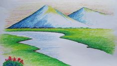 landscape draw drawing easy mountain pastel beginners oil landscapes drawings scenery simple pastels very mountains painting gambar pemandangan river pencil