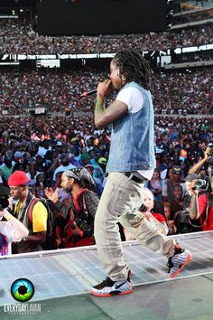 f23bc6f02118b Check out Wale Rockin Nike Foamposite Metallic Silver   Crimson-Black  Sneakers at Summer Jam Peep a bunch of images after the .