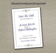 DIY Printable Wedding Save The Date PDF - Traditional Elegant Black Damask Pattern (Custom Colored Template Available) on Etsy, $12.00