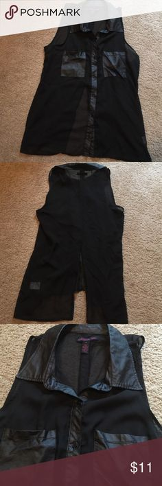Black sheer button down sleeveless shirt. Material girl brand, slit in back, leather-like collar and pockets, worn a few times. Material Girl Tops Button Down Shirts