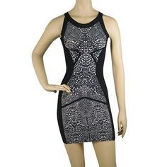 #HerveLeger Black Lacey Lace Print #BandageDress Only Only $199.00  For more Products: http://bit.ly/1ImiwH5 #HldressBandage
