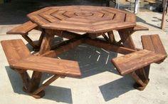 www.oneplankatatime.com    Octagon picnic table
