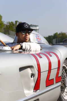 Sir Sterling Moss and Lewis Hamilton at Monza with two classic Mercedes the W196R and the 300 SLR 722.
